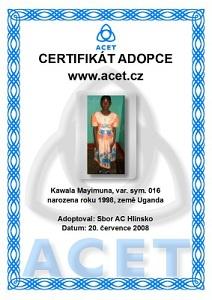 Toto je certifikát naší Mayimuna Kawala. Stiskem zobraz větší obrázek.